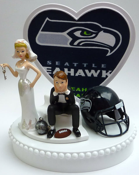 Wedding Cake Topper - Seattle Seahawks Football Themed Key
