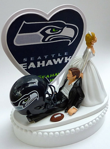 Seattle Seahawks cake topper wedding football turf topper groom's cake top humor funny FunWeddingThings.com
