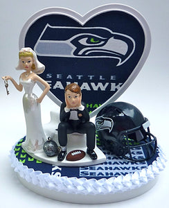 Seattle Seahawks wedding cake topper sports fan reception fun humor NFL football bride dejected groom ball and chain