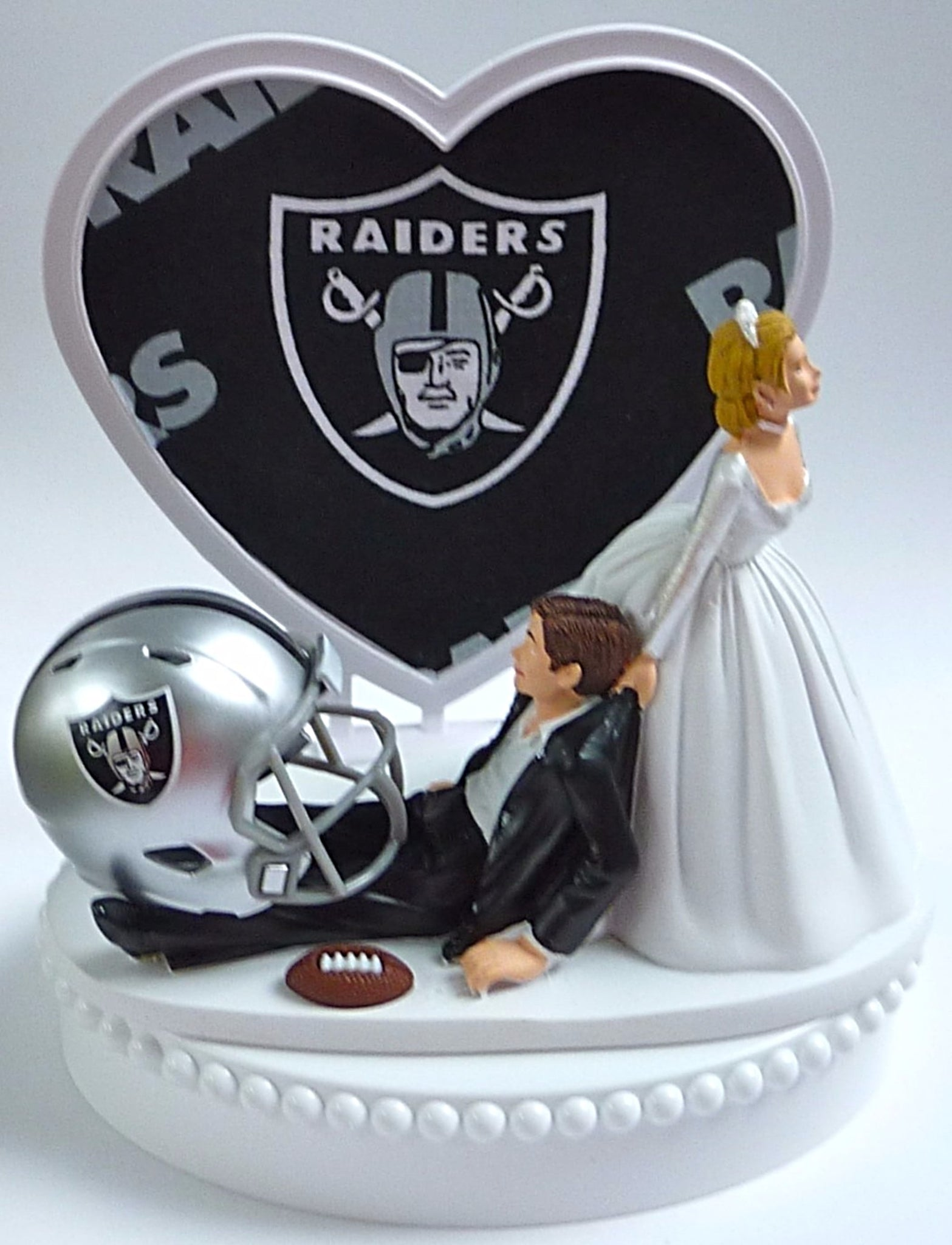 Oakland Raiders cake topper wedding football green turf astroturf bride groom's cake top humorous funny reception sports fans