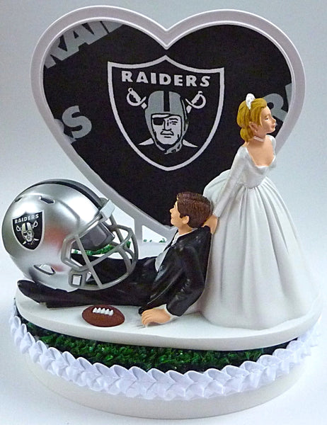 Wedding Cake Topper - Oakland Raiders Football Themed