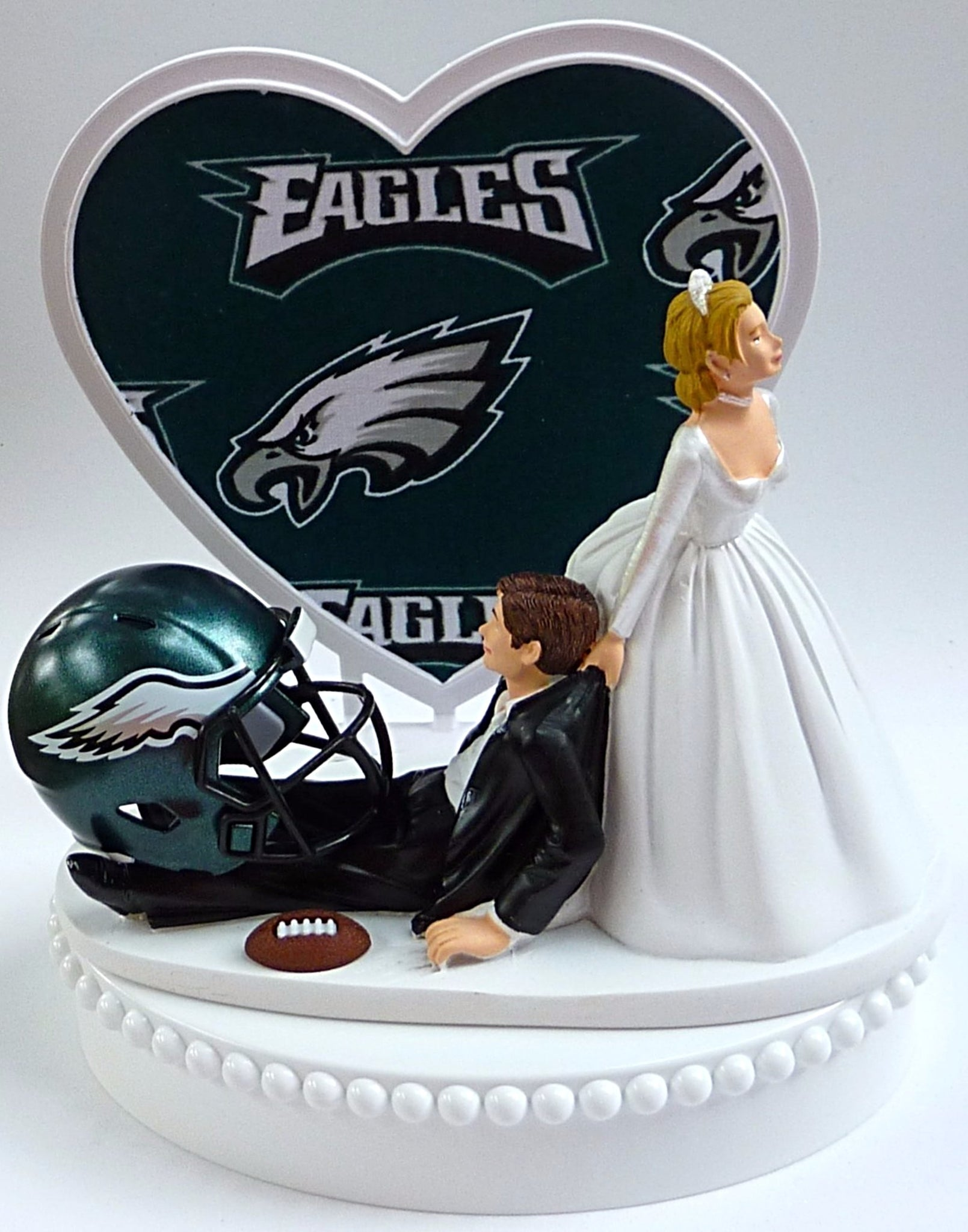 Philadelphia Eagles Football Turf Wedding Cake Topper FunWeddingThings.com Sports Fans NFL Fun Reception Bride Groom