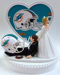 Wedding Cake Topper - Miami Dolphins Football Themed