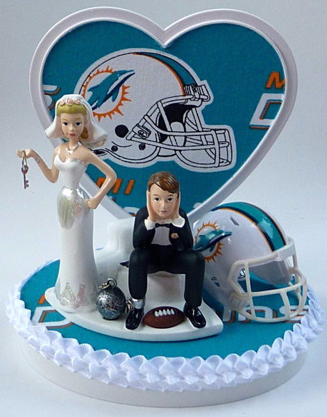 Miami Dolphins wedding cake topper ball and chain key humorous bride dejected groom football fan reception fun