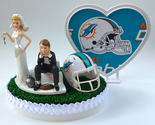 Wedding Cake Topper - Miami Dolphins Football Themed Key