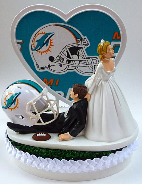Miami Dolphins wedding cake topper NFL football bride groom fans