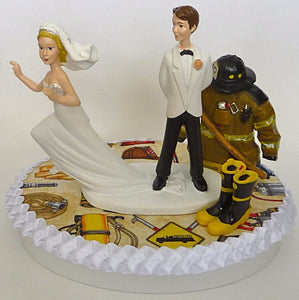 Wedding Cake Topper - Fireman Fire Department Firefighter Runaway Bride B