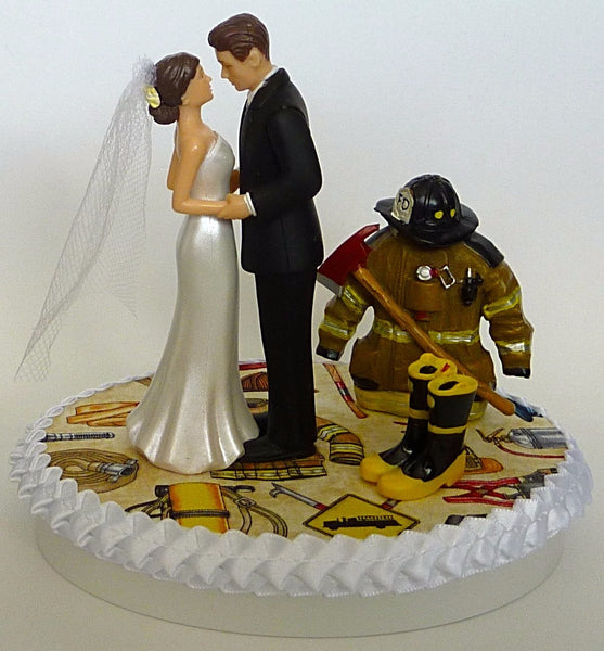 FunWeddingThings.com first responder wedding cake topper fireman firefighter
