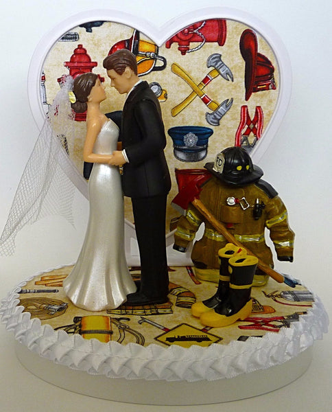 Pretty wedding cake topper fireman Fun Wedding Things firefighter fire department heart
