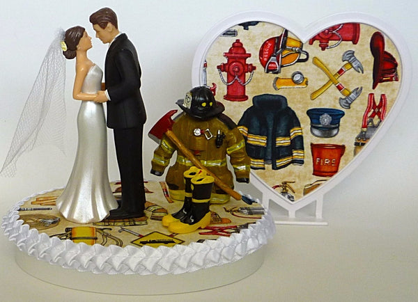 First responders wedding cake topper Fun Wedding Things bride and groom heart fireman