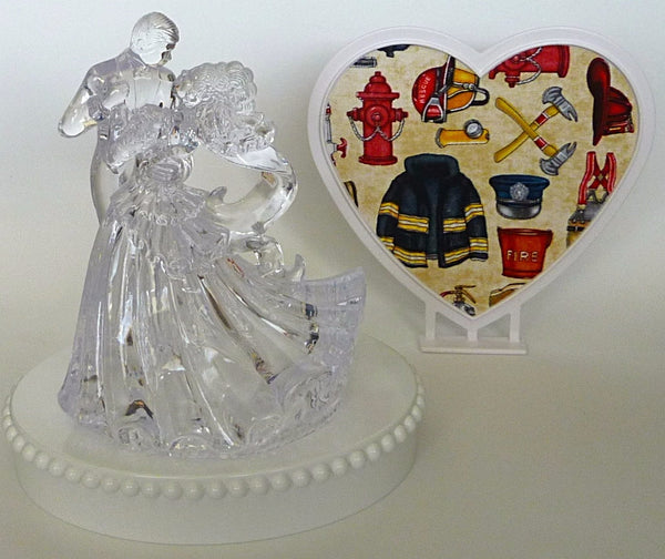 Fire themed cake topper wedding Fun Wedding Things clear bride and groom dancing heart background