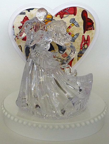 Fire department cake topper wedding Fun Wedding Things clear bride groom first dance pretty