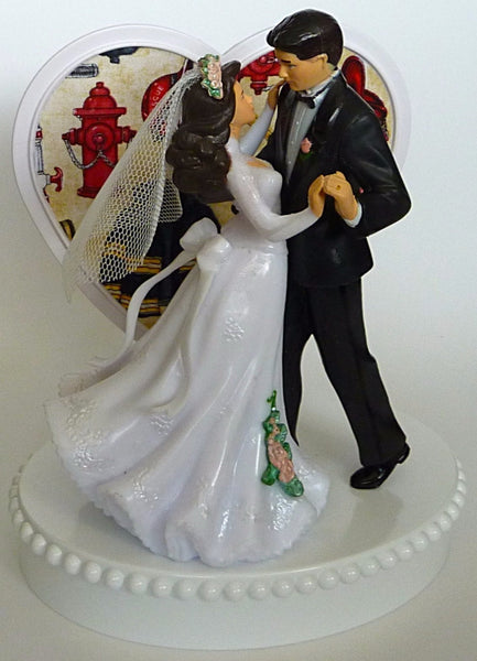 Fireman cake topper Fun Wedding Things bride groom firefighter dancing pretty heart reception