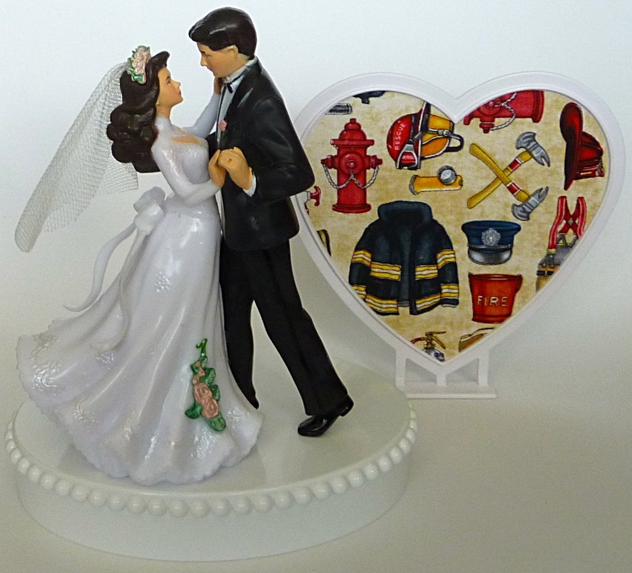 Firefighter cake topper Fun Wedding Things fireman bride groom dancing pretty reception heart