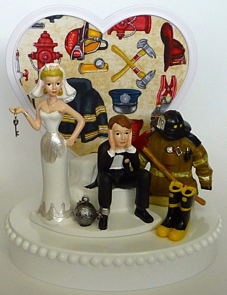 FunWeddingThings.com firefighter wedding cake topper fireman fire department