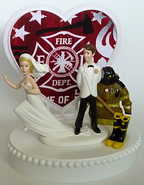 Fun Wedding Things fireman cake topper wedding firefighter groom's cake top humorous funny runaway bride