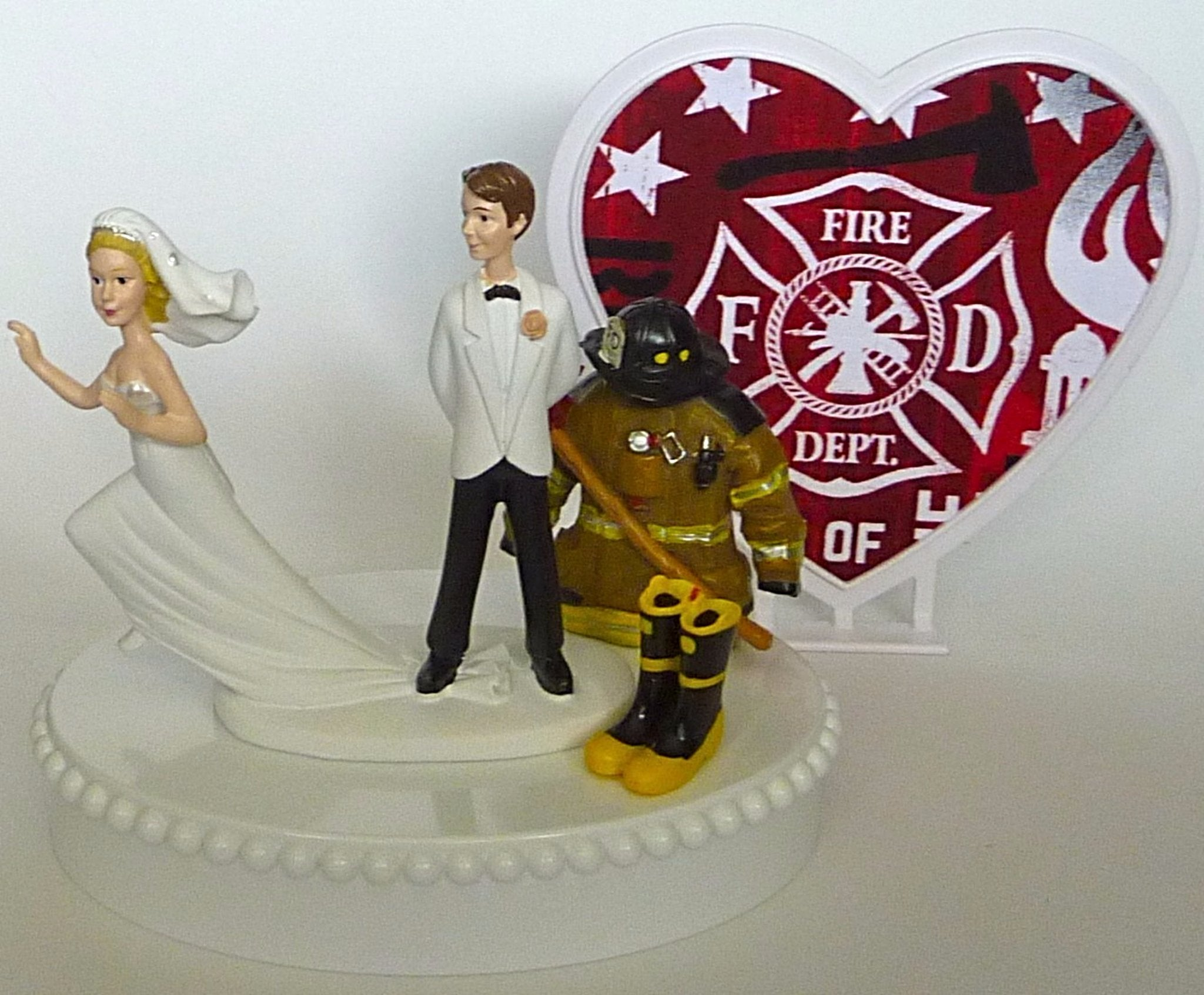 Fun Wedding Things fireman wedding cake topper groom's cake top firefighter boots axe uniform helmet humorous heart backdrop