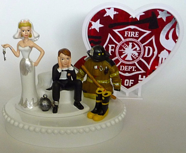 Fire department wedding gift bridal shower reception fireman firefighter wedding cake topper Fun Wedding Things humorous funny