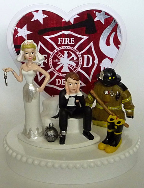 Funny firefighter wedding cake topper fireman FunWeddingThings.com fire department bride groom reception