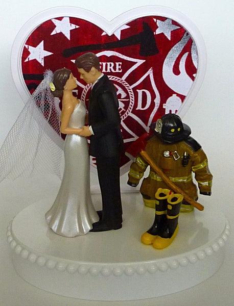 Fireman themed wedding cake topper FunWeddingThings.com