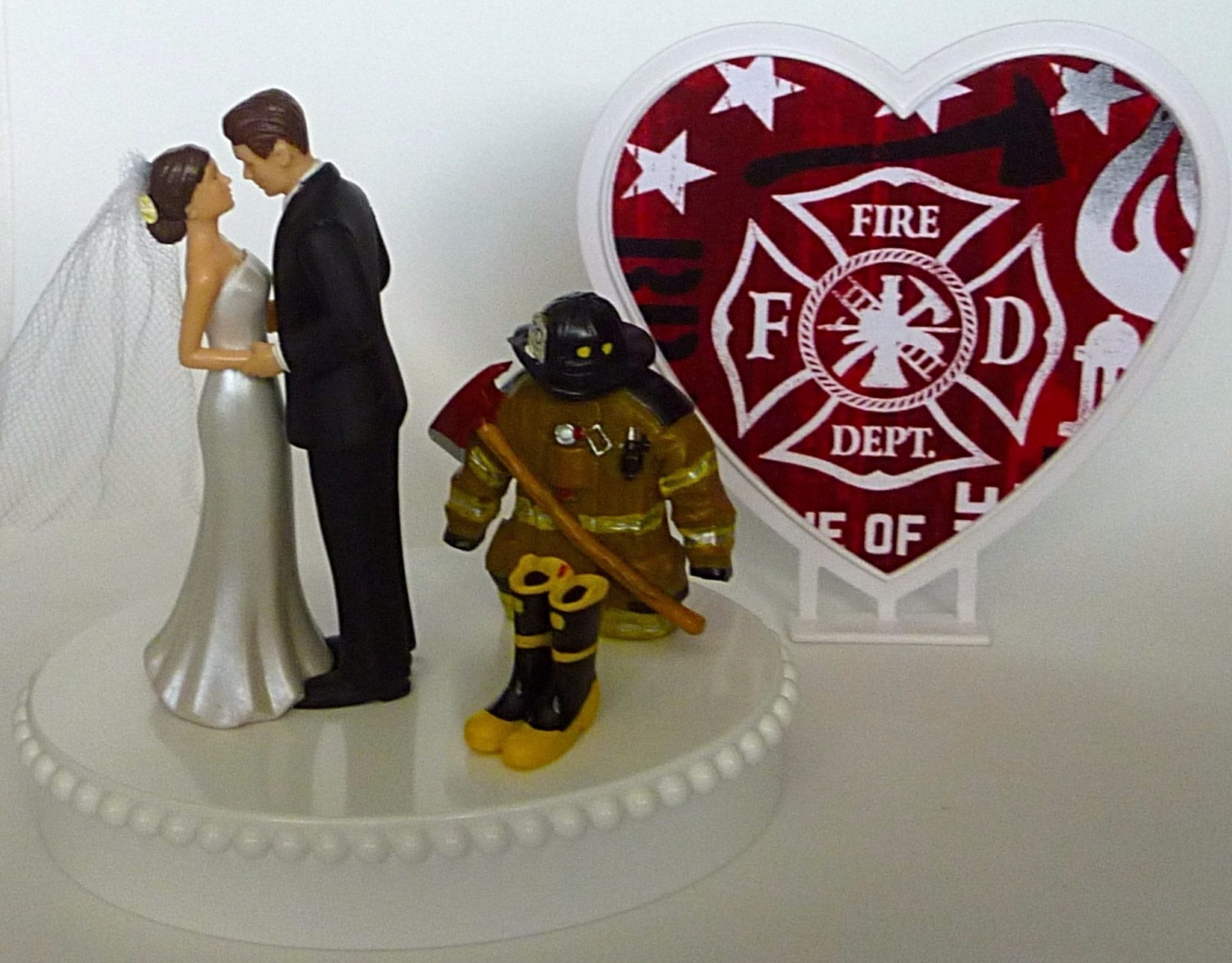 Firefighter themed wedding cake topper FunWeddingThings.com