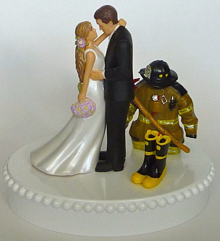 FunWeddingThings.com fireman wedding cake topper firefighter