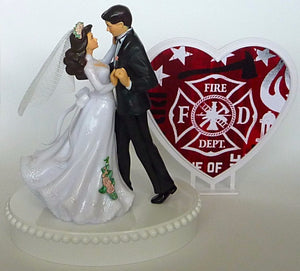 Fire wedding cake topper Fun Wedding Things department fireman firefighter reception party gift idea