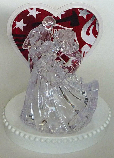 Pretty cake topper fireman themed firefighter Fun Wedding Things clear bride groom first dance heart