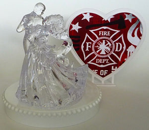 Wedding cake topper free shipping Fun Wedding Things fireman bride groom