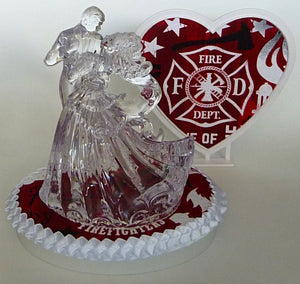 Red fire department firefighter wedding cake topper Fun Wedding Things pretty gorgeous heart