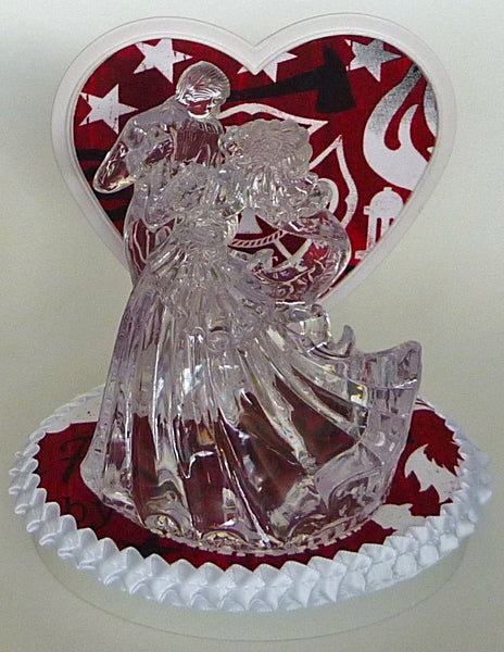 Red fire-themed wedding cake topper Fun Wedding Things bride groom dancing clear couple heart