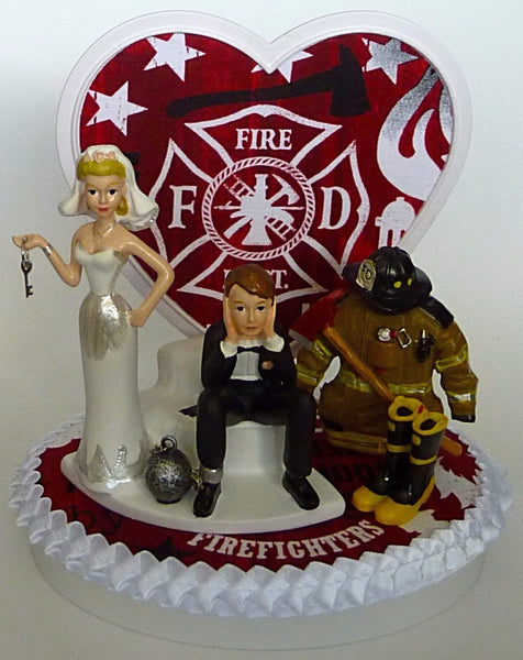 Bride groom wedding cake topper fireman Fun Wedding Things firefighter fire department humorous