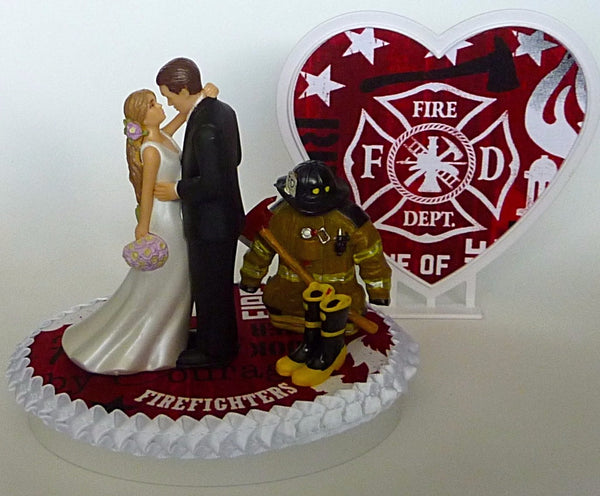 Fire department wedding cake topper