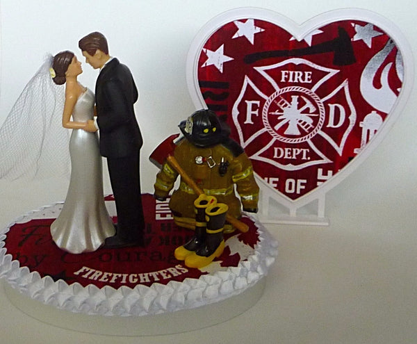 Maltese cross fireman wedding cake topper firefighter
