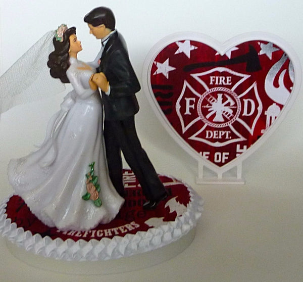 Firefighter wedding cake topper Fun Wedding Things bride groom dancing fireman fire department pretty