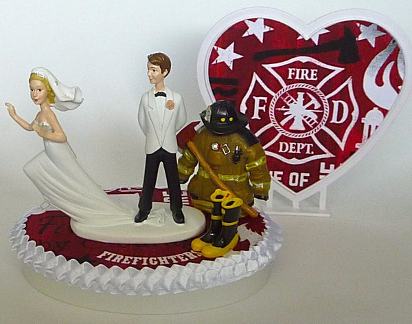 Fun Wedding Things fireman wedding cake topper firefighter fire department humorous bride groom funny runaway gift reception idea