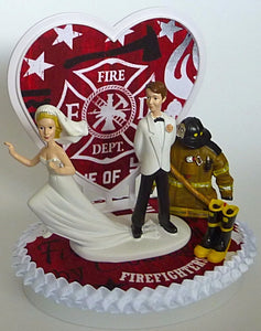 FunWeddingThings.com fire department wedding cake topper humorous fireman groom firefighter bride funny