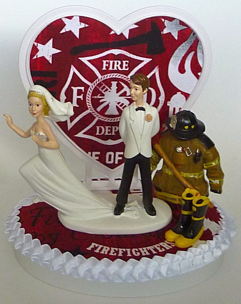 Fire cake topper wedding firefighter FunWeddingThings.com fireman fire department humorous funny bride groom
