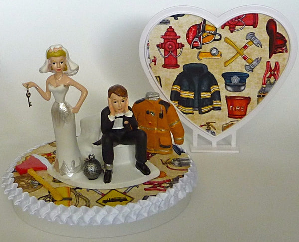 Fireman groom's cake topper FunWeddingThings.com