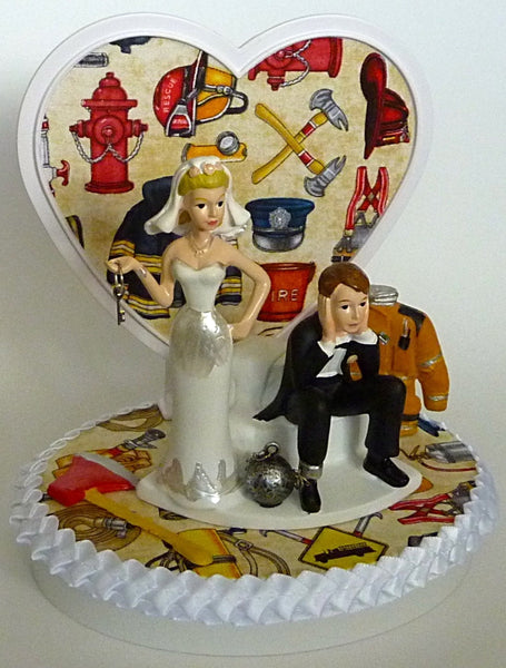 Firefighter groom's cake topper FunWeddingThings.com