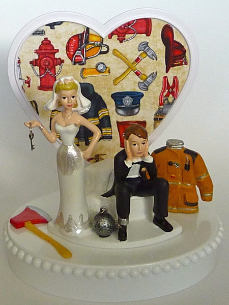 Fire themed wedding cake topper FunWeddingThings.com