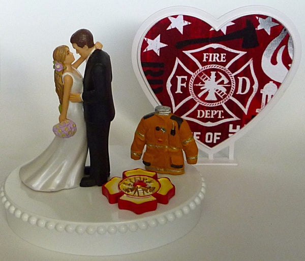 Maltese cross cake topper fireman FunWeddingThings.com firefighter groom's cake top fire department bride