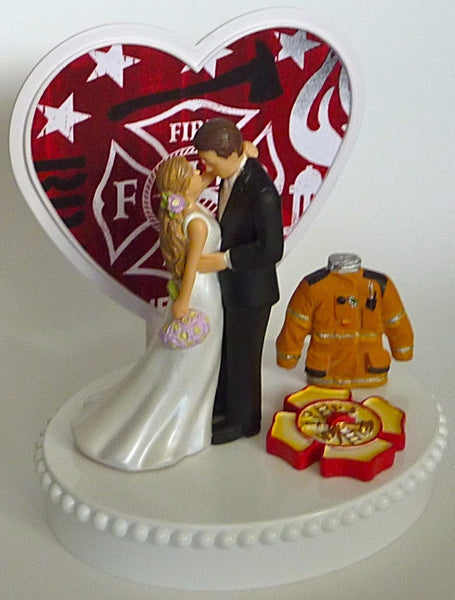 Maltese cross wedding cake topper fireman firefighter fire department FunWeddingThings.com groom's cake top