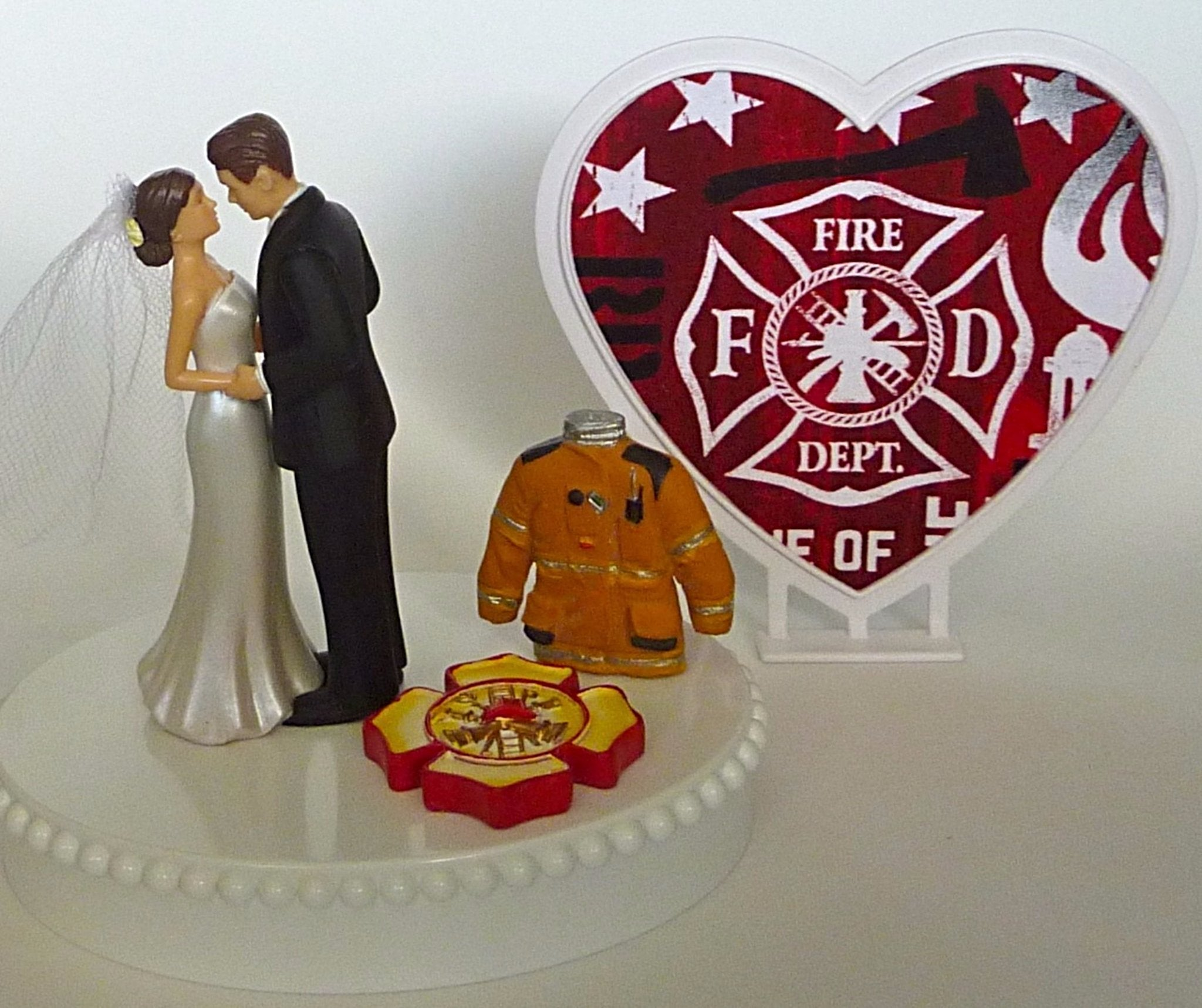 Maltese cross wedding cake topper firefighter Fun Wedding Things fireman groom's cake top bride pretty