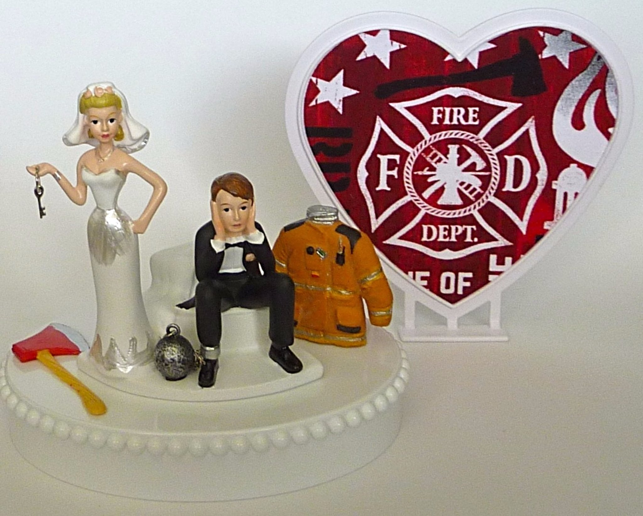Firefighter wedding cake topper FunWeddingThings.com