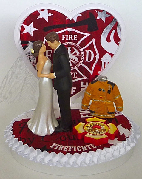 Heart background wedding cake topper FunWeddingThings.com fireman firefighter groom's cake top