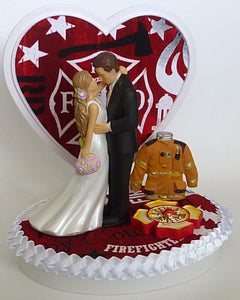 Pretty bride groom cake topper wedding FunWeddingThings.com fireman firefighter