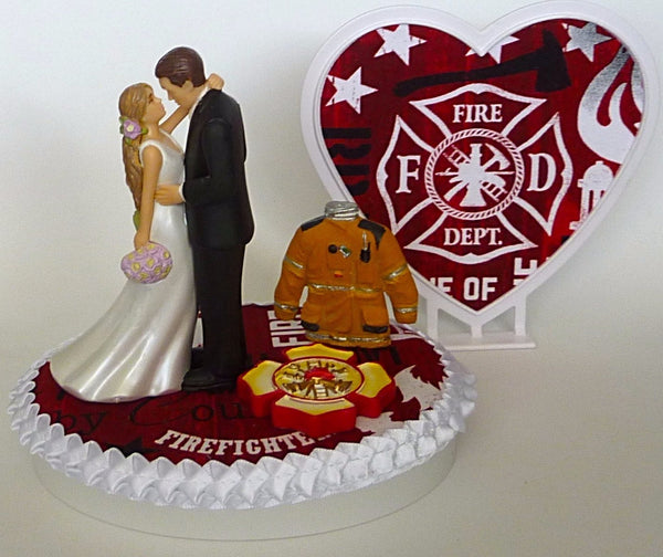 Bride groom wedding cake topper fireman maltese cross Fun Wedding Things firefighter