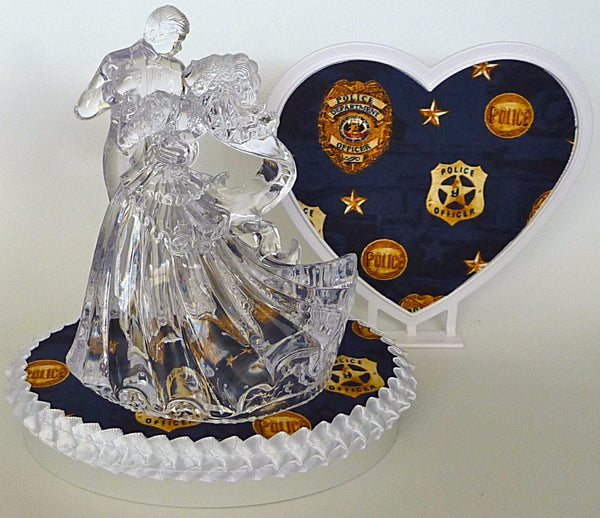 Police-themed wedding cake topper Fun Wedding Things bride groom dance