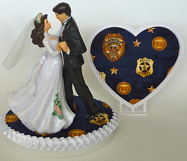 Police department wedding cake topper FunWeddingThings.com police officer bride groom reception